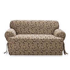 Scroll Brown Damask T-Cushion Slipcovers by Sure Fit®