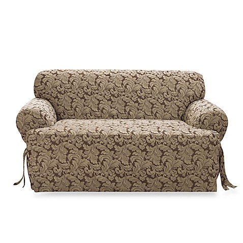 Scroll brown t cushion damask loveseat slipcover by sure fit bed bath beyond Loveseat t cushion slipcovers