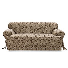 Scroll Brown T-Cushion Damask Sofa Slipcover by Sure Fit®