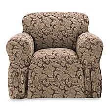 Scroll Brown T-Cushion Damask Chair Slipcover by Sure Fit®