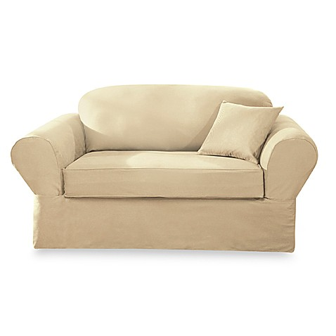 Sure Fit® Twill Supreme 2-Piece Loveseat Slipcover in Flax