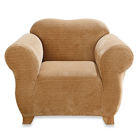 Sure Fit® Stretch Royal Diamond Chair Slipcover in Gold