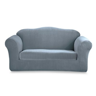 Stretch Pinstripe French Blue 2-Piece Loveseat Slipcover by Sure Fit®