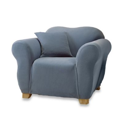 Sure Fit® Stretch Piqué Chair Slipcover in Federal Blue