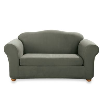 Stretch Suede Dark Green Two-Piece Loveseat Slipcover by Sure Fit®