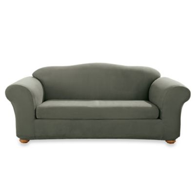 Stretch Suede Dark Green Two-Piece Sofa Slipcover by Sure Fit®