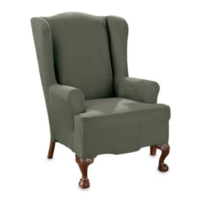 Stretch Suede Dark Green Wing Chair Slipcover by Sure Fit®