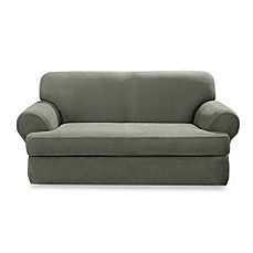 Stretch Suede Dark Green 2-Piece T-Cushion Slipcovers by Sure Fit®