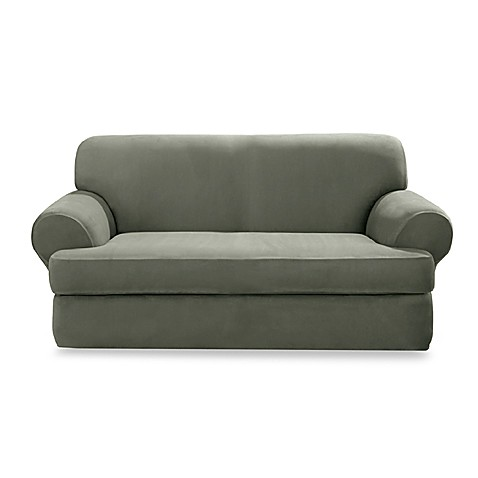 Stretch Suede Dark Green 2-Piece T-Cushion Loveseat Slipcover by Sure Fit®