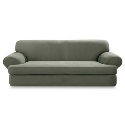 Stretch Suede Dark Green 2-Piece T-Cushion Sofa Slipcover by Sure Fit®