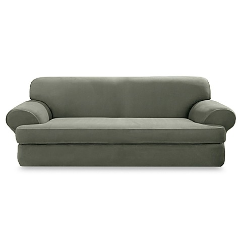 Suede 2Piece TCushion Sofa Cover in Dark Green  BedBathandBeyond.ca