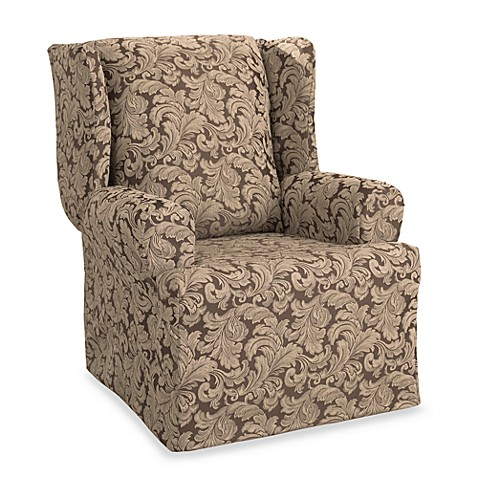 scroll brown wing chair slipcover by sure fit bed bath