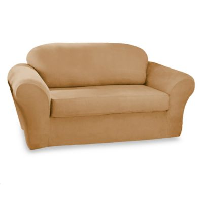 Sure Fit® Stretch Suede 2-Piece Loveseat Cover in Camel