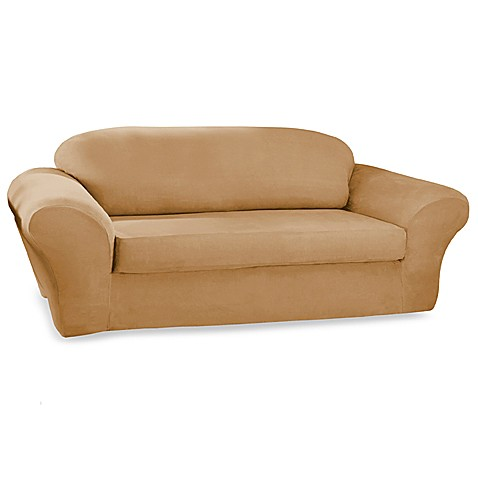 Stretch Suede Camel Two-Piece Sofa Slipcover by Sure Fit®