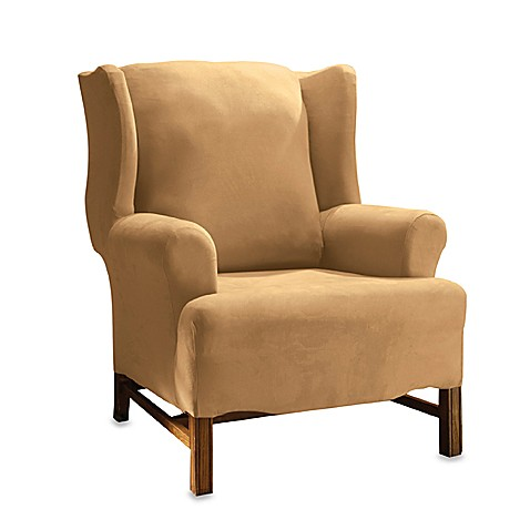 Buy Sure Fit 174 Stretch Suede Wing Chair Cover In Camel From