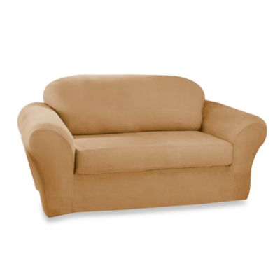 Stretch Suede Camel T-Cushion Sofa Slipcover by Sure Fit®