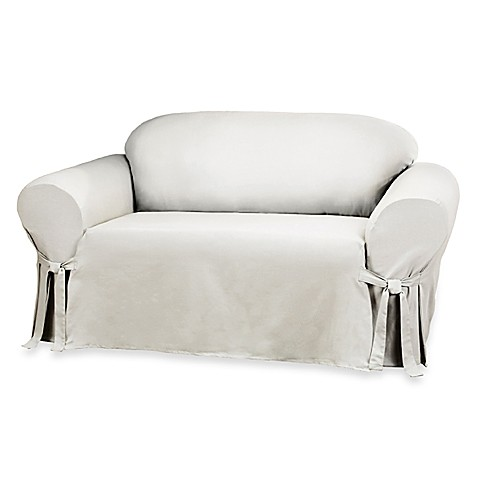 Sure fit duck supreme cotton loveseat slipcover in white bed bath beyond White loveseat slipcovers