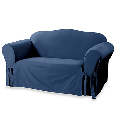 Sure Fit® Duck Supreme Cotton Loveseat Slipcover in Navy