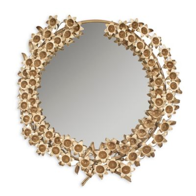 Safavieh Bella Flower Mirror in Antique Brass