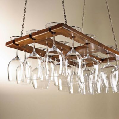 Wine Enthusiast Oak Wine Glass Rack