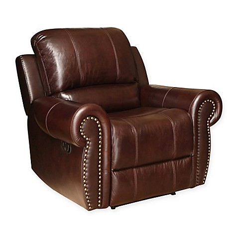 abbyson living sedona leather recliner in burgundy bed