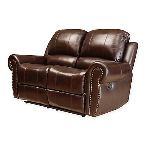 Abbyson living sedona leather loveseat in burgundy www for Abbyson living sedona leather chaise recliner