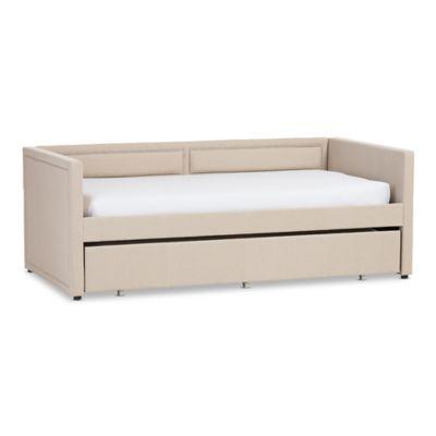 Baxton Studio Raymond Linen Sofa Twin Bed in Beige