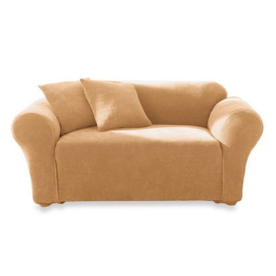 Stretch Pique Camel Loveseat Sliipcover by Sure Fit®