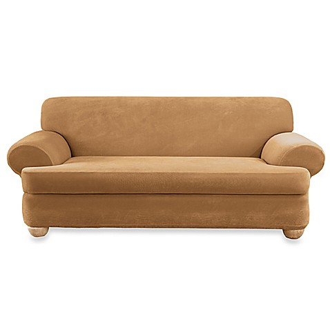 Stretch Pique Camel 2 Piece T Cushion Sofa Slipcover By