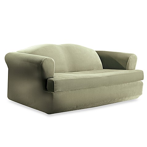 Stretch Pique Sage 2 Piece T Cushion Sofa Slipcover By