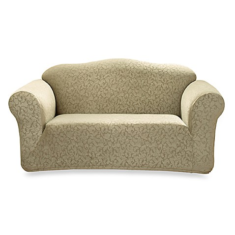 Stretch Scroll Sage Loveseat Slipcover By Sure Fit Bed Bath Beyond