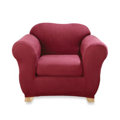 Sure Fit® Stretch Suede 2-Piece Chair Slipcover in Burgundy