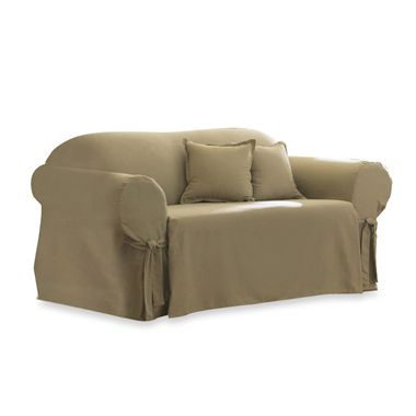 Cotton Linen Duck Loveseat Slipcover by Sure Fit®