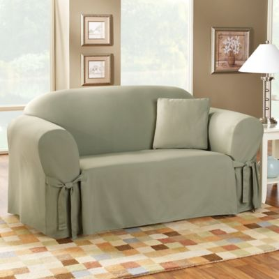 Cotton Duck Sage Sofa Slipcover by Sure Fit®