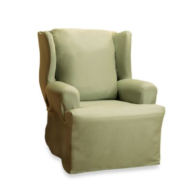 Cotton Duck Sage Wing Chair Slipcover by Sure Fit®