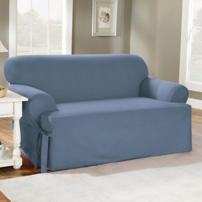 Sure Fit® Duck Supreme Cotton T-Cushion Loveseat Slipcover in Bluestone