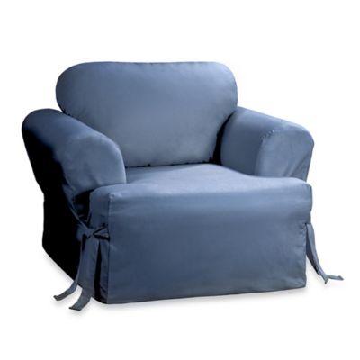 Sure Fit® Duck Supreme Cotton T-Cushion Chair Cover in Bluestone