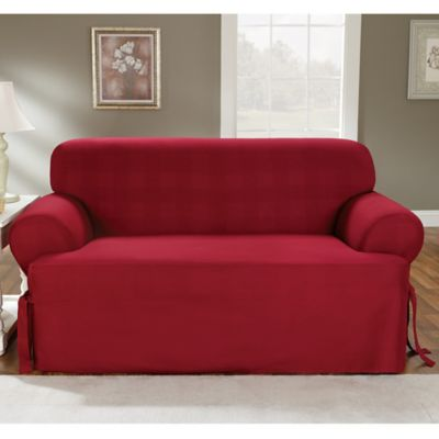 Sure Fit® Duck Supreme Cotton T-Cushion Loveseat Slipcover in Claret