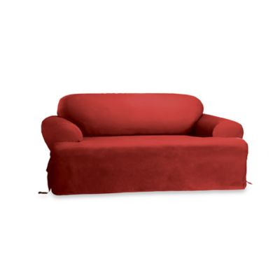 Sure Fit® Duck Supreme T-Cushion Sofa Slipcover in Claret