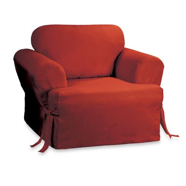 Sure Fit® Duck Supreme Cotton T-Cushion Chair Cover in Claret