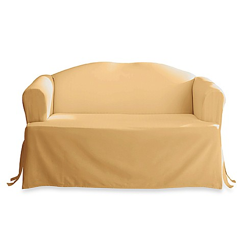 Cotton duck solid gold t cushion loveseat slipcover by sure fit bed bath beyond Loveseat t cushion slipcovers