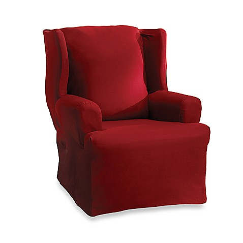 buy cotton duck claret wing chair slipcover by sure fit