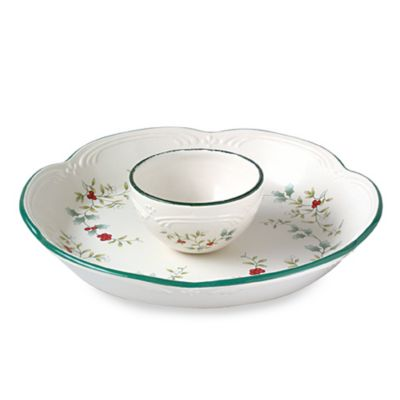 Winterberry 14-Inch Chip and Dip Server