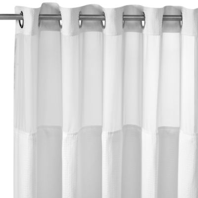 HooklessR Waffle White Fabric Shower Curtain And Liner Set