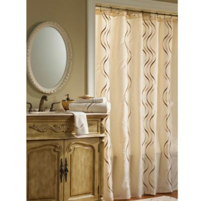 Croscill® Dante Stall Fabric Shower Curtain in Champagne