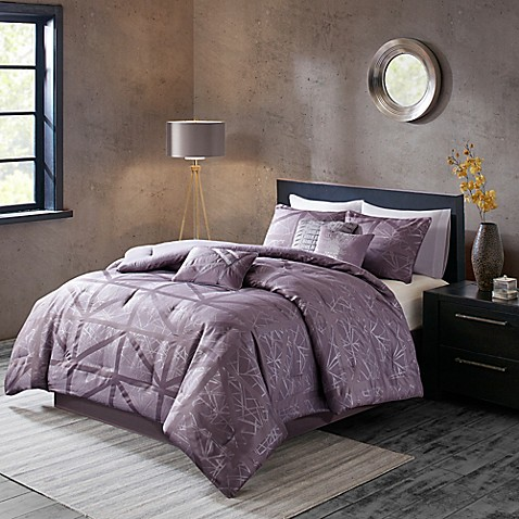 buy madison park dante 7 piece california king comforter set in purple from bed bath beyond. Black Bedroom Furniture Sets. Home Design Ideas