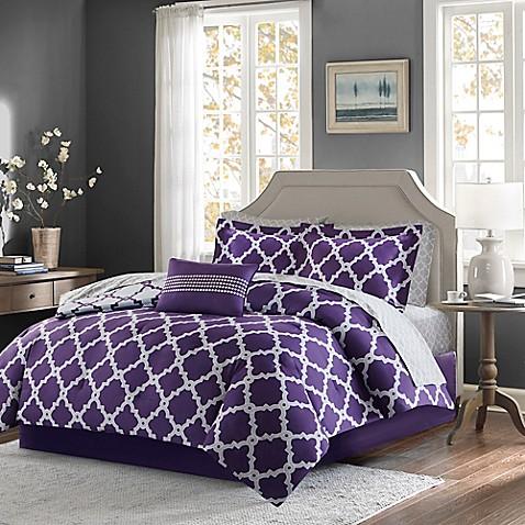 buy madison park essentials merritt 7 piece reversible twin comforter set in purple grey from. Black Bedroom Furniture Sets. Home Design Ideas
