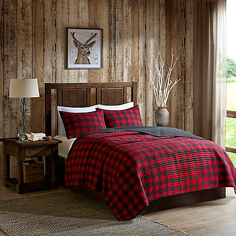 Woolrich 174 Check Reversible Quilt Set In Red Black Www