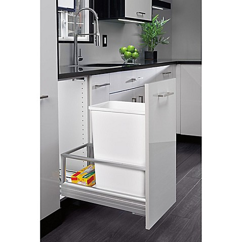 Buy Rev A Shelf Brushed Nickel Pull Out 35 Qt Waste Containers In White From Bed Bath Beyond
