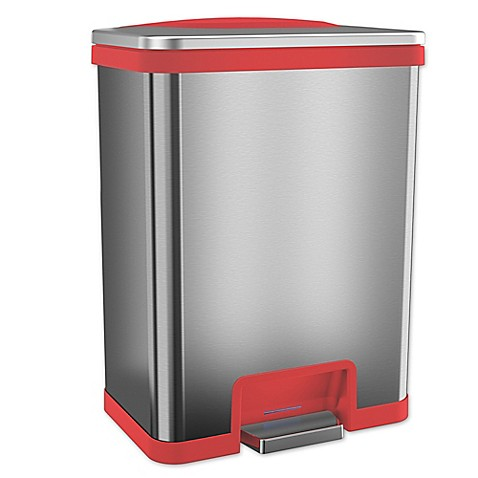 buy itouchless tapcan effortless stainless steel 13 gallon trash can in red from bed bath beyond. Black Bedroom Furniture Sets. Home Design Ideas